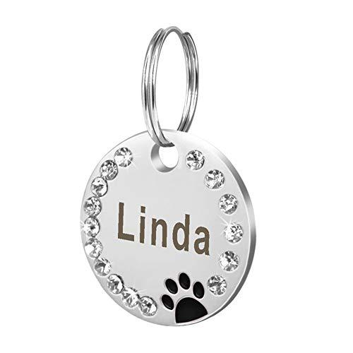 Danigrefinb Huisdier Tag, 25mm Metalen Lege Hond Tag Poot Strass Huisdier Kat ID Naam Gegraveerde Sleutelhanger Ketting, Metaal, A, Zwart