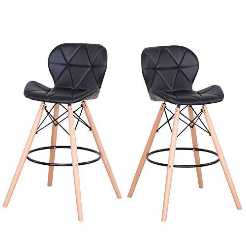 EGOONM Tabourets de Bar - Lot de 2 tabourets de Bar avec Pieds en hêtre, Repose-Pieds, chaises de Cuisine (Noir)