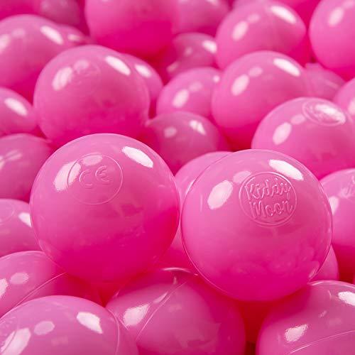 KiddyMoon 100 ∅ 7Cm Kinder Bälle Spielbälle Für Bällebad Baby Einfarbige Plastikbälle Made In EU, Pink