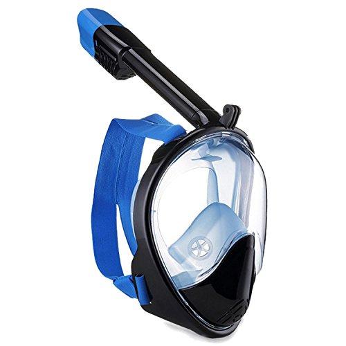 BEETEST Máscara de buceo Silicona Anti-niebla Anti-fugas Máscara de buceo Diseño de cara completa con vista de 180 grados Snorkel largo Compatible para Gopro Xiaoyi SJCAM