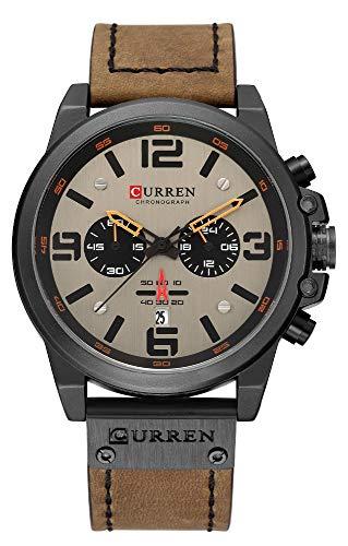 CURREN Luxury Brand Men Military Stopwatch Waterproof Leather Chronograph Watch Mens Fashion Quartz Watch (Black Gray Brown Belt)