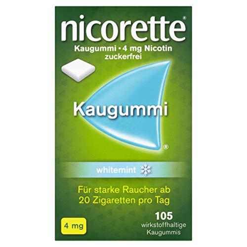 NICORETTE Kaugummi 4mg whitemint – Nikotinkaugummi zur Raucherentwöhnung – Zahnweißeffekt – Minzgeschmack – 4mg Nikotin