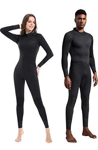 Dark Lightning 3mm Wetsuit Women, Women's Wetsuit Long Sleeve Full Suit Premium Neoprene Womens Suit Scuba Diving/Surf/Canoe, Jumpersuit
