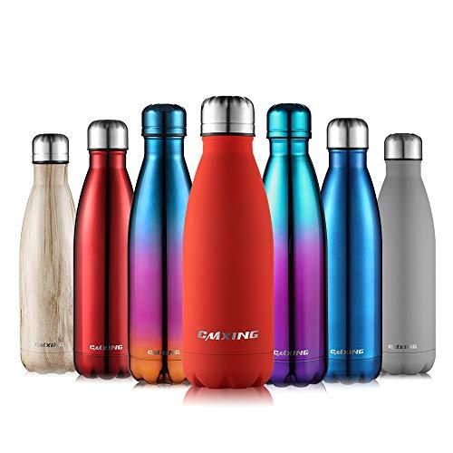 cmxing Doppelwandige Thermosflasche 500 mL / 750 mL mit Tasche BPA-Frei Edelstahl Trinkflasche Vakuum Isolierflasche (ROT, 350 mL)