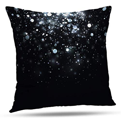 wonzhrui Sparkles Decorative Throw Pillow Cover, Light Stars with Sparkles Shine Glitter Star Shiny Bright Magic Cushion Cover for Bedroom Sofa Living Room 18X18 Inches