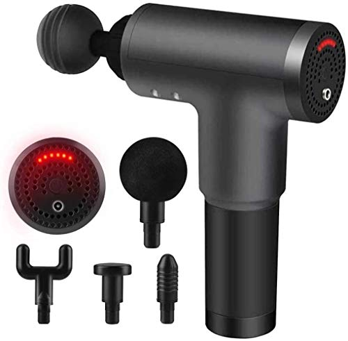 Home Massage Gun Muscle masażer, Hand-hold Percussion Deep Tissue Muskelmassage with 6 Adjustable Speeds, 4 Massage Heads for Home Gym Office Post-Workout Pain Relief (Black)