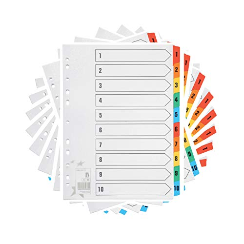 [10 Stück] Register DIN-A4 Farbig 10-teiliges | Ordner-Register DIN-A4 nummeriert 1–10 | Trennblätter für ordner A4 (1-10) | einfach perfekt zum Organisieren