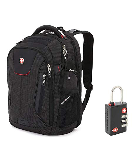 SWISSGEAR 5358 Ultimate Protection USB TSA Friendly Scansmart Laptop Backpack and Cable Lock Bundle-Black