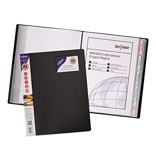 Snopake Sichtbuch mit Register, mit 40 Folien, A4, Schwarz, 5 Stück