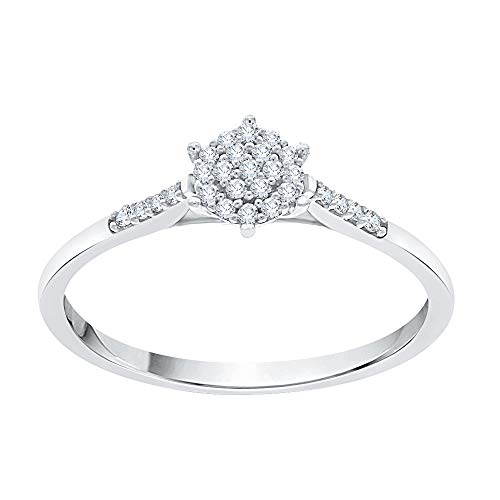 KATARINA Prong Set Diamond Cluster Engagement Ring in Sterling Silver (1/10 cttw, G-H, I2-I3) (Size-7.25)