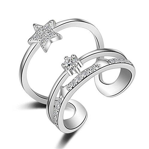 Shawa Damen-Ring mit Zirkonia 925er Sterling Silber Verstellbar Hypoallergen Sterne Mehrschicht Eröffnungringe Diamant-Ring für Freundin Partner