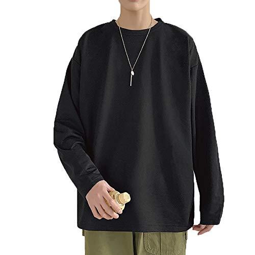 Derrick Aled(k) zhuke Camisetas De Manga Larga para Hombre Camisa con Cuello Redondo Informal CóModo Cuello Redondo Color SóLido para Hombre Camiseta Holgada para Mujer