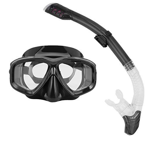 Sanzhileg Máscaras de Buceo Profesional Gafas de Buceo de Silicona Completamente seco Set de Tubo Hombres Mujeres Buceo Natación Deportes acuáticos Equipo
