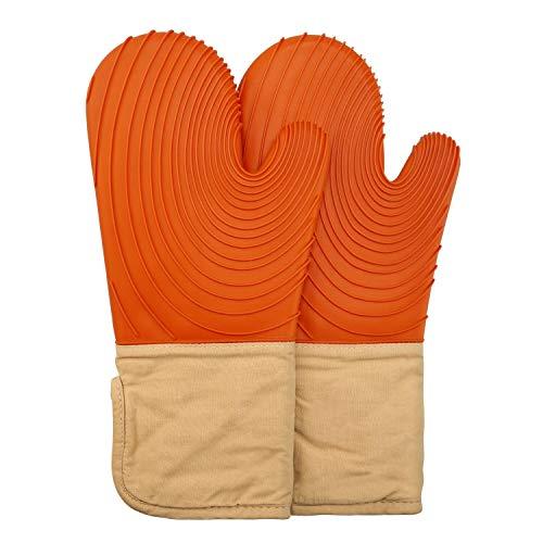 ZB ZealBoom 1 par de guantes de cocina anticalor de silicona, guantes de horno para barbacoa, cocina, parrilla, microondas, barbacoa, color naranja