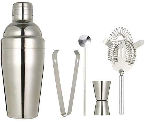 Cocktail Shaker Strainer Measuring Jigger Mixing Spoon 8Pcs (Cocktail Shaker Set-5pcs)