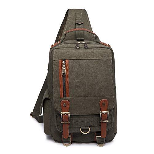 KAUKKO Canvas Sling Cross Body Laptop Messenger Bag Travel Outdoor Messenger Shoulder Bag
