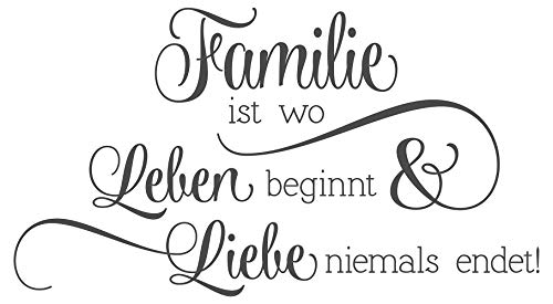 dekodino Wandtattoo Spruch Familie ist wo Leben beginnt und Liebe Niemals endet!