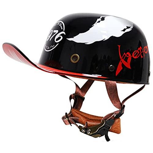 Motocicleta Half Helmet,Media Casco Gorra Casco,Aprobado DOT Casco De Moto De Automóvil Eléctrico Clásico Personalidad Casco Bicicleta Scooter Hombres Mujeres K,S(55-56CM)