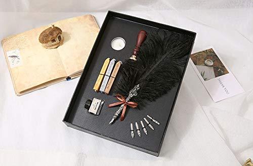 L.J.JZDY vulpen vulpen antieke struisvogel penseel schrijven inkt briefpapier pennen met 5 pennen bruiloft geschenken veren pen geschenkdoos handschrift