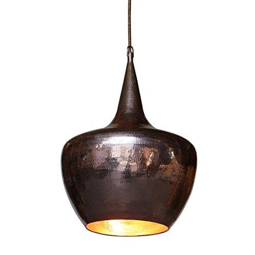 wohnfreuden Kupfer-Lampe aus Metall ✓ Hängelampe Pendelleuchte Hängeleuchte ✓ echte Handarbeit ✓ Kupferleuchten für Wohnzimmer Esszimmer Restaurant Küche ✓ Größe S 30x30x40 cm