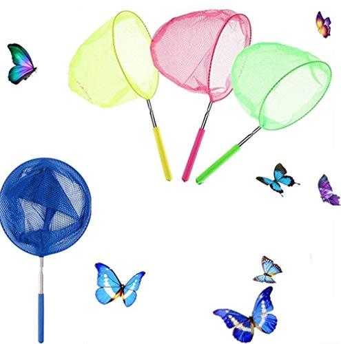 Voarge Kinder Schmetterling Net, Teichnetz Ausziehbar von 15 bis 34 Zoll für Kinder Fangwanzen Insekten Kleine Fische(4 Kescher in Bunt)