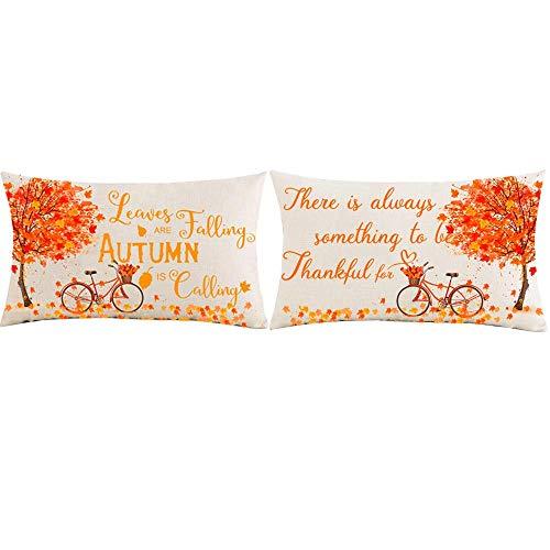 Juego de 2 fundas de almohada de 30,5 x 50,8 cm, regalo para festivales, acuarela, hojas de arce, otoño, hojas de algodón, lino, decoración para el hogar, sofá, silla, coche, lumbar, funda de almohada