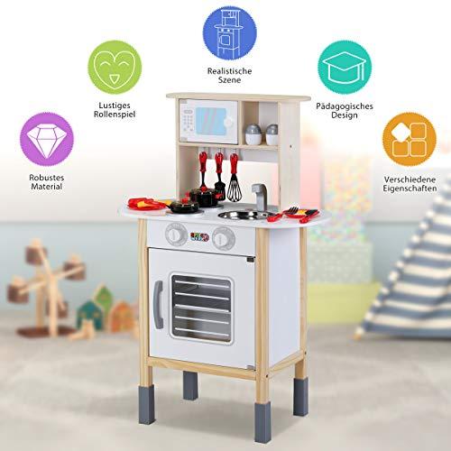 Spielzeugküche Spielküche Kinderküche Happy Kitchen 35 Teile Zubehör Holzküche Lichteffekt Kinder Spielzeug Lernspiel - 3