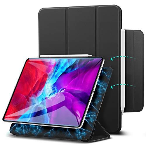 """ESR Hülle kompatibel mit iPad Pro 12.9"""" 2020, praktischer Magnetverschluss [Unterstützt Apple Pencil Koppeln und Laden] Trifold Standhülle, Smart Hülle, Auto Schlaf-/Weckfunktion - Schwarz"""