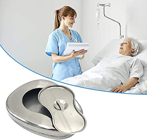 ZKHD Orinal para Mujeres,Sartenes de Cama de Acero Inoxidable con Tapa, Orinal de Forma de Contorno Suave para Pacientes Postrados en Cama, Orinal de Cuidado de Ancianos