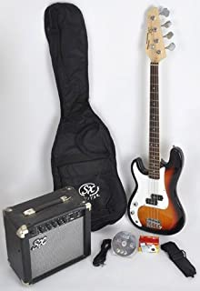 $185 » Left Handed 3/4 Size Beginner Bass Guitar Package Sunburst w/Free Amp Bag, Strap and Cord SX Ursa 1 JR 3TS LH