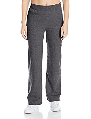 Hanes womens ComfortSoft EcoSmart Women's REGULAR Open Bottom Leg Sweatpants Slate Heather X-Large