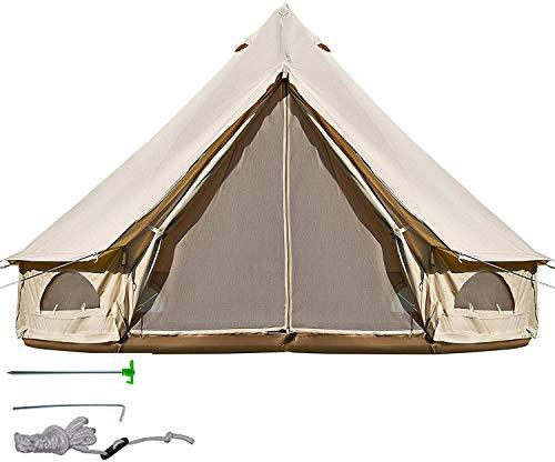 DNLM Bell Tente en Toile Tente avec Trou Poêle en Toile de Coton Tentes Tente Yourte pour Camping 4...