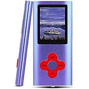 Btopllc Lecteur MP3 /MP4 Lecteur de Musique vidéo avec Carte 16 Go Port Mini-USB Rechargeable LCD numérique Ultra Compact MP3, Musique, Livre électronique,visionnage des Images-Bleu