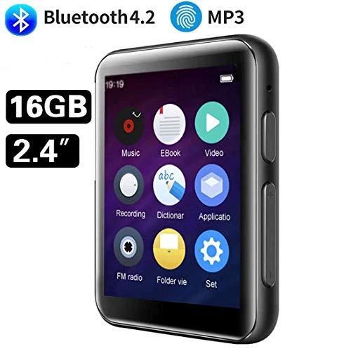 CCHKFEI Lettore MP3 Bluetooth da 16 GB, con touch screen da 2,4 pollici, lettore musicale senza perdite, altoparlante integrato, supporto radio FM registratore vocale