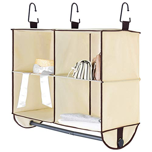 "StorageWorks Hanging Closet Organizer with Garment Rod, 4 Section Closet Hanging Shelves, Canvas, Beige, 24""W x 12""D x 19""H"