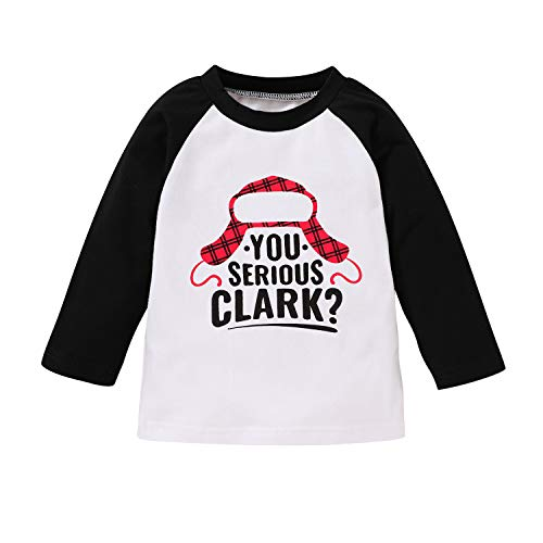 JEELLIGULAR Toddler Kids Baby Girls Boys Christmas T-Shirt Letter Print Tops Long Sleeve Tee for Baby 6M-5Y Festival Clothes (Black Shirt, 3-4 Years)