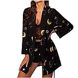 WUSIKY Damen Dessous-Sets Frühling sexy Spitze Pyjamas Satin Unterwäsche Schlafanzug Leopard Seide Nachthemd