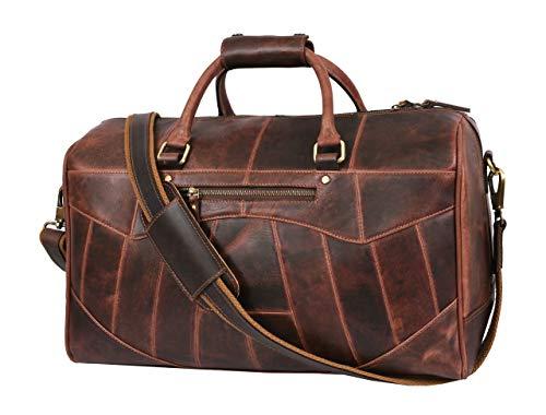 Aaron Leather - Borsone da viaggio in pelle, per palestra, sport, aereo, borsa da trasporto | regalo per la festa del papà, Noce americano (marrone) - TB-120DB