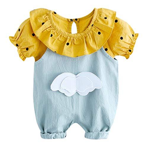 Transer Toddler Bébés Filles Manches Courtes Col Rabattu Dot Tops Tee + Strap Overall Shorts Pants Outfits Set (12-18 Mois, Bleu Clair)