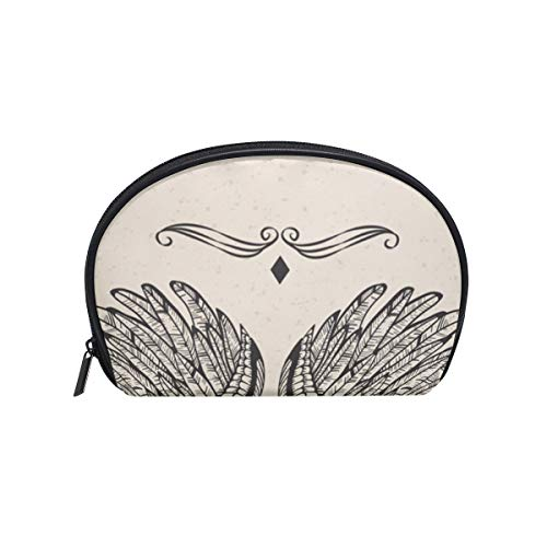 Women's Travel Vintage Angel Wings Print Cosmetic Bags Portable Makeup Clutch Pouch Small Cosmetic Bag and Toiletries Organizer Bag