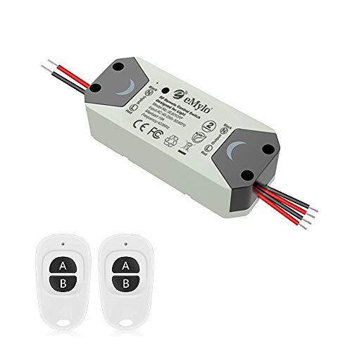 eMylo Interruptor de relé inalámbrico inteligente RF 220V Interruptor de control remoto de 2 canales 90-250V Interruptor de relé de RF Automatización del hogar 433 MHz con dos transmisores 1 paquete