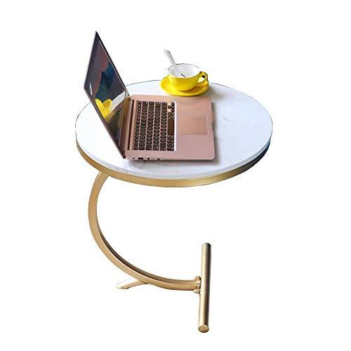 Home&Selected Fineer/Sofa Side tafel, woonkamer Nordic mode tafel rond marmer café mini hoek tafel telefoon nachtkastje slaapkamer (kleur: wit) Wit