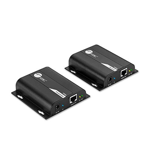 SIIG HDMI Extender Over IP Using Single Cat5e/Cat6 Cable with IR Extension Control - Full HD 1080p at 394ft (120m) - HDMI Balun Over Ethernet [One to One & One to Many Connections] CE-H23T11-S1