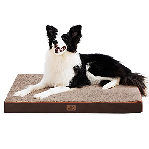 Bedsure Large Dog Bed for Large Dogs Up to 75lbs – Big Orthopedic Dog Beds with Removable Washable Cover, Egg Crate Foam Pet Bed Mat, Brown