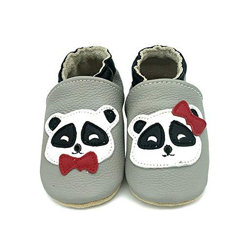 YFCH Zapatos de Cuero Suave para Bebés Zapatos Primeros Pasos Pantuflas Infantiles de Estar por Casa Patucos de Suela Suave Zapatillas Antideslizantes,Osito con Arco,0-6 Meses(Etiqueta: S)