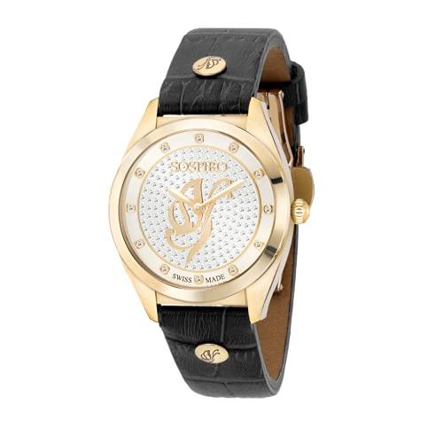 Reloj de pulsera para mujer de cuarzo Swiss Made Sospiro negro con correa de piel