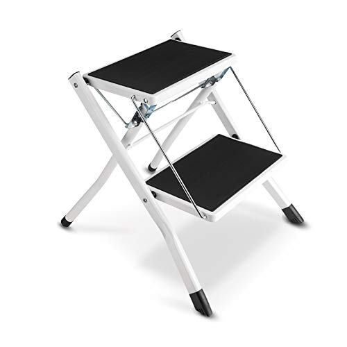 Step Ladder, Folding Step Ladder Anti-Slip Metal 2 Tread Wide Pedal Safety Step Stool With Tool Tray For Kitchen Garage Home For Pet Cat Dog Step Climb Stool