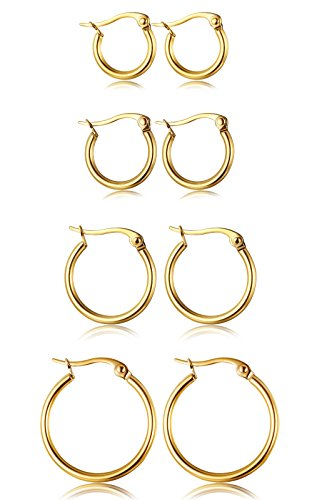 ORAZIO 4 Pairs Stainless Steel Hoop Earrings Set Cute Huggie Earrings for Women,Gold-Tone,10MM-20MM