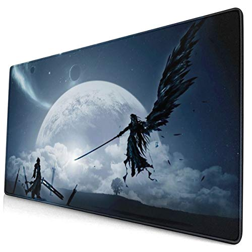 Final Fantasy VII Japanese Anime Style Large Gaming Mouse Pad Desk Mat Long Non-Slip Rubber Stitched Edges Mice Pads 15.8x29.5 in