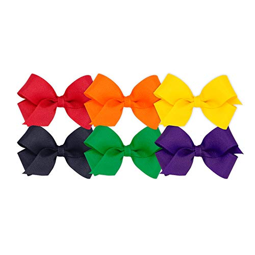 Wee Ones Girls' Mini Bow 6 pc Set Solid Grosgrain Variety Pack on a WeeStay Clip - Red, Orange, Yellow, Navy, Green, Purple